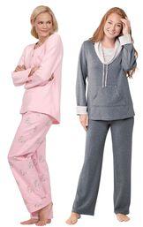 Models wearing Snuggle Bunny Pajamas and World's Softest Pajamas - Charcoal. image number 0