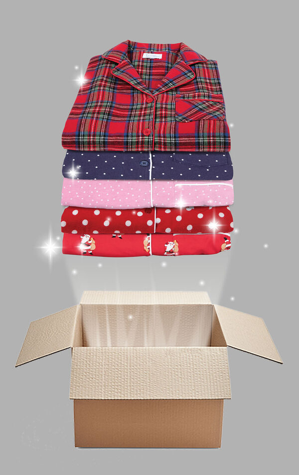 Stack of Slightly Imperfect Pajamas of varying colors, styles and fabrics image number 0