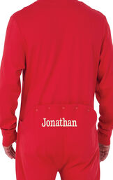 Model wearing Red Dropseat Onesie PJ for Men, facing away from the camera image number 1