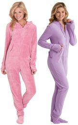 Models wearing Hoodie-Footie - Pink and Hoodie-Footie - Sneak-a-Peek.