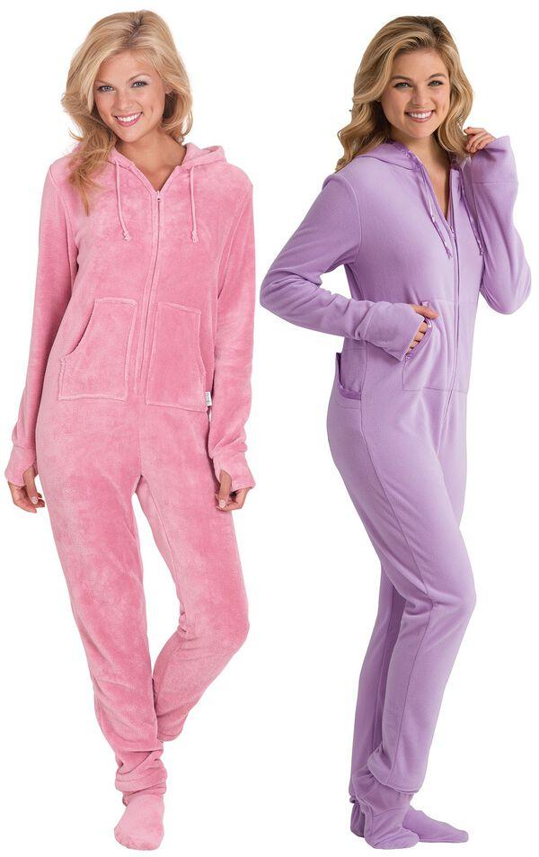 Models wearing Hoodie-Footie - Pink and Hoodie-Footie - Sneak-a-Peek. image number 0