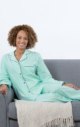 Model sitting on couch wearing Mint and Gray Polka Dot Button-Front PJ for Women image number 3