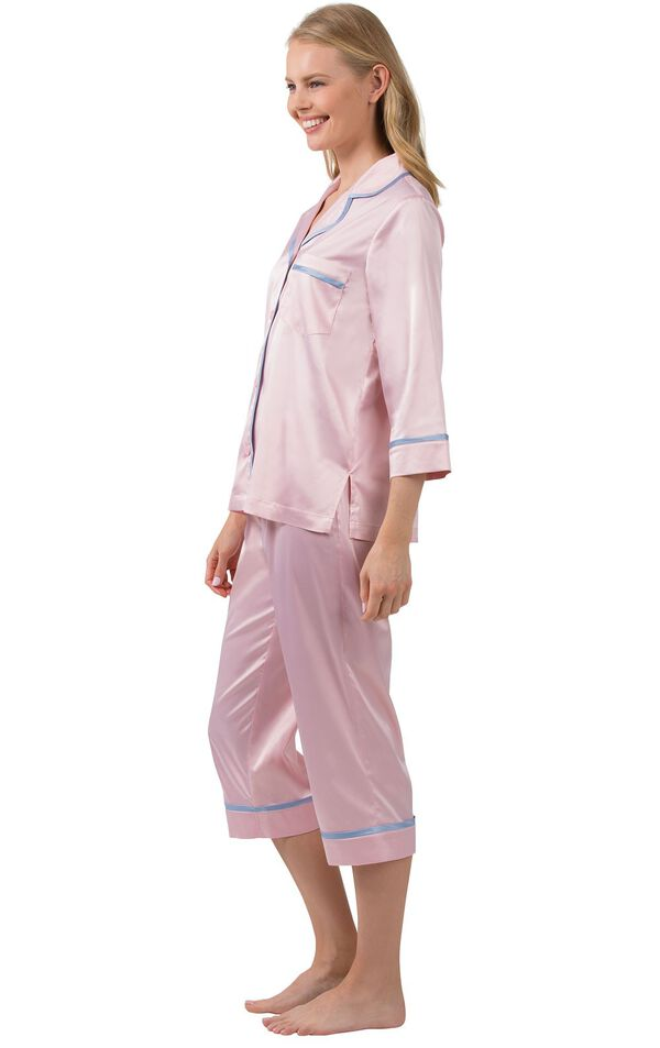 Model wearing Light Pink Satin Button-Front Capri PJ with Blue Trim for Women, facing to the side image number 2