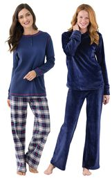 Models wearing Tempting Touch PJs - Midnight Blue and Snowfall Plaid Pajamas. image number 0