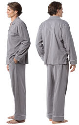 Model wearing Charcoal Gray and White Stripe Button-Front PJ for Men, facing away from the camera and then to the side image number 1