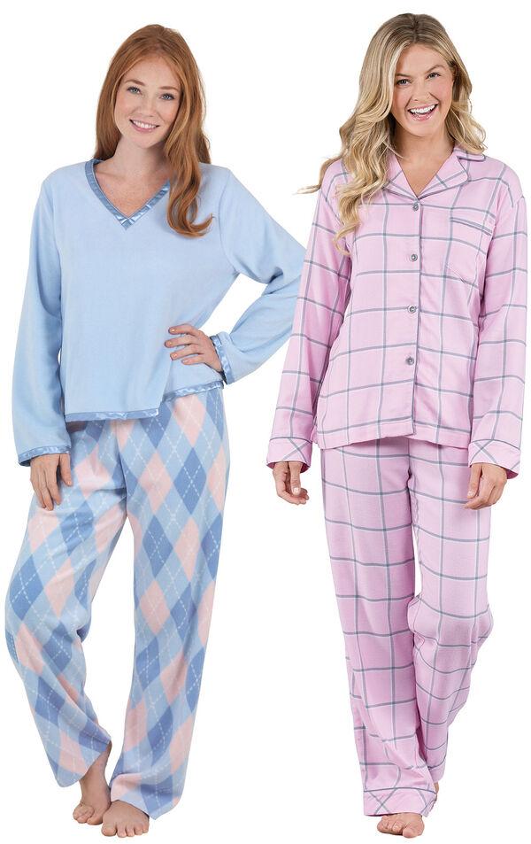 Snuggle Fleece Argyle and Pink World's Softest Flannel Boyfriend PJs - Petite image number 0