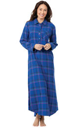 Model wearing Indigo Plaid Flannel Gown for Women image number 0