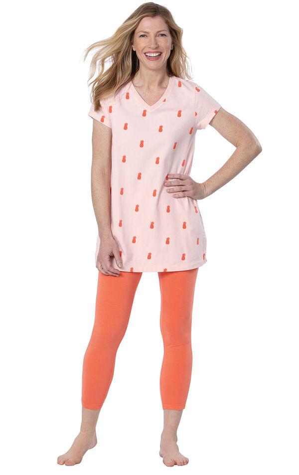 Model wearing Short Sleeve and Legging Pajamas - Coral image number 0