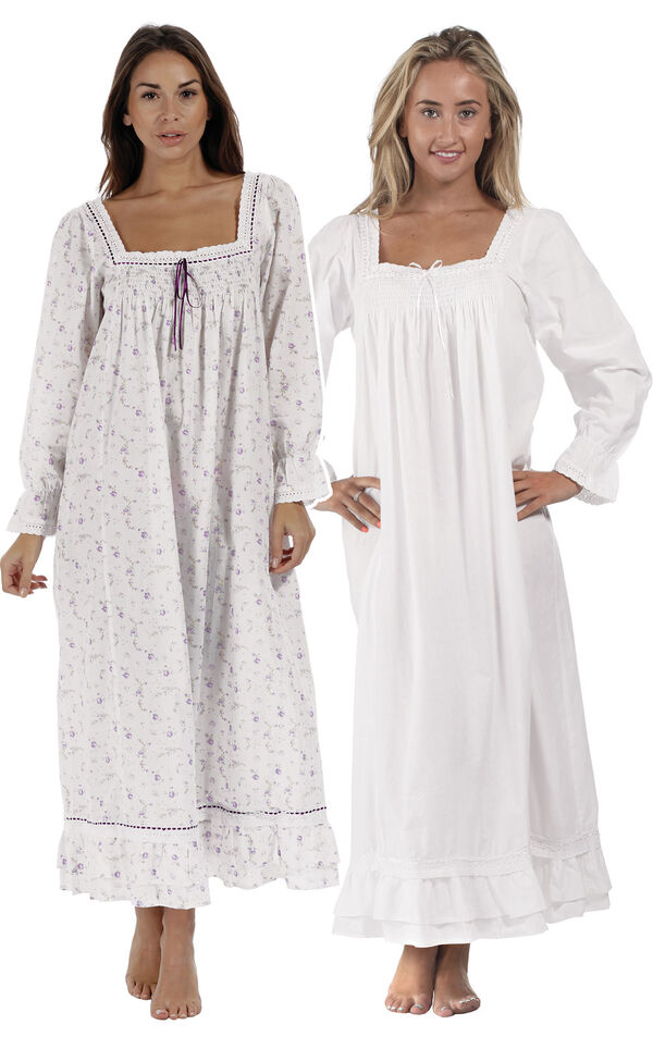 Models wearing Martha Nightgown - Lilac Rose and Martha Nightgown - White image number 0