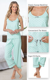Mint and Gray Polka Dot Cami PJ for Women have a classic Scoop neckline, convenient tie waist and capri PJ pants image number 4