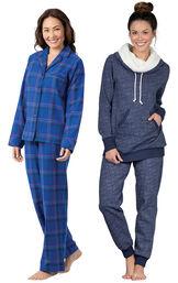 Models wearing Indigo Plaid Boyfriend Flannel Pajamas and Solstice Shearling Rollneck Pajamas.