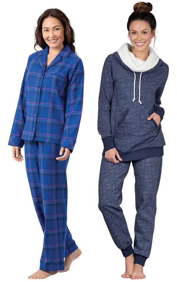 Models wearing Indigo Plaid Boyfriend Flannel Pajamas and Solstice Shearling Rollneck Pajamas. image number 0