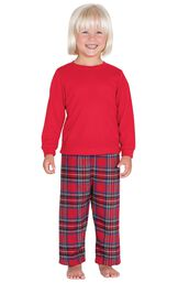 Model wearing Red Classic Plaid Thermal Top PJ for Toddlers image number 0