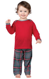 Model wearing Gray Plaid PJ for Infants