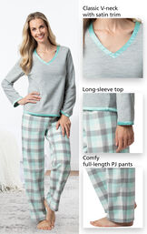 Close-ups of the features of Snuggle Fleece Plaid Pajamas - Aqua which include a classic V-neck with satin trim, long-sleeve top and comfy full-length PJ pants image number 3