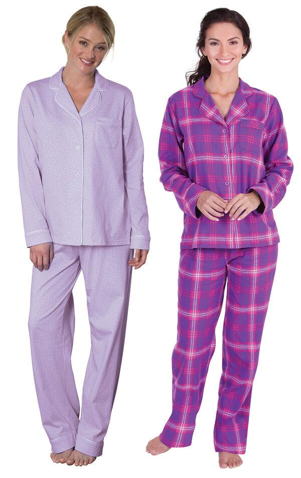 Models wearing Classic Polka-Dot Boyfriend Pajamas - Lavender and Raspberry Plaid Boyfriend Flannel Pajamas. image number 0
