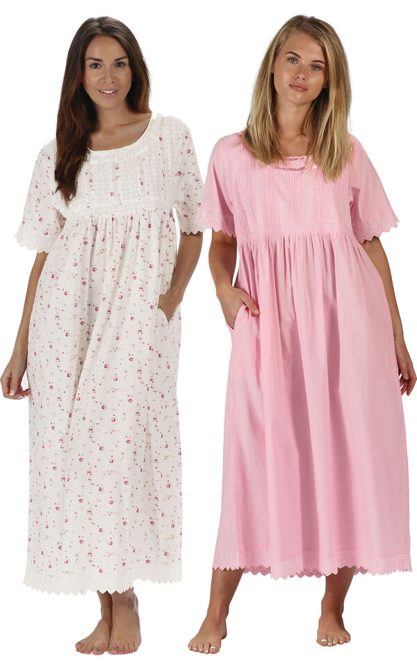 Models wearing Helena Nightgown - Pink and Helena Nightgown - Vintage Rose image number 0