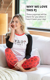 Woman sitting on couch wearing Black and Red Friends Jogger PJs with the following copy: These pajamas will be there for you when it hasn't been your day image number 2