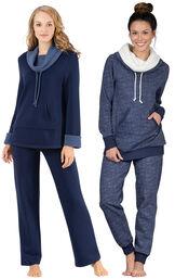 Models wearing World's Softest Pajamas - Navy and Solstice Shearling Rollneck Pajamas.
