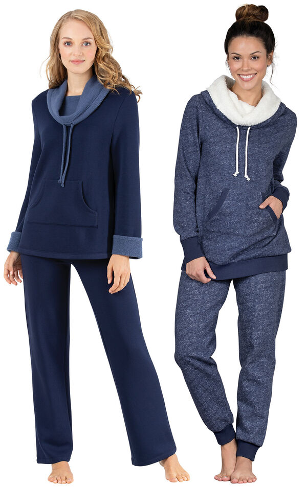 Models wearing World's Softest Pajamas - Navy and Solstice Shearling Rollneck Pajamas. image number 0