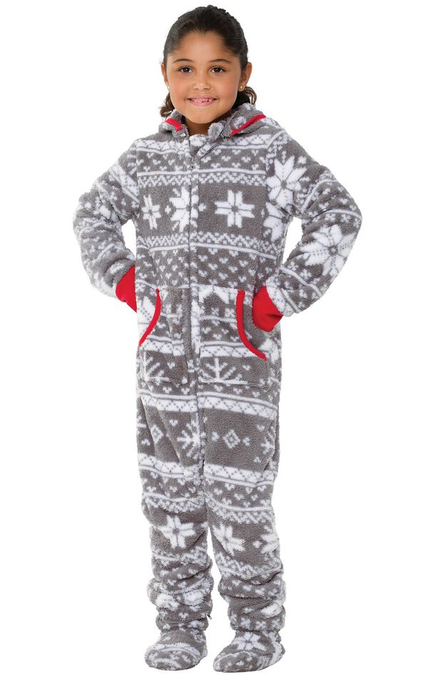 Model wearing Hoodie-Footie - Gray Fair Isle Fleece for Girls image number 0