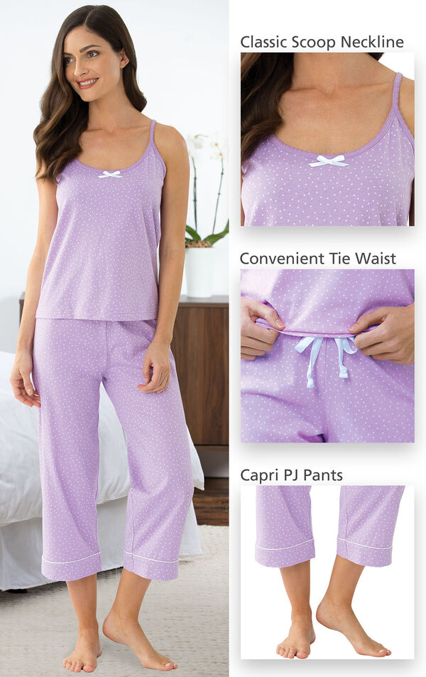Close-ups of the features of Oh-So-Soft Pin Dot Capri Pajamas - Lavender which include a classic scoop neckline, convenient tie waist and capri PJ Pants image number 4
