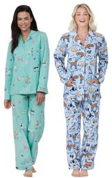 Models wearing Doggy Dreams Boyfriend Pajamas and Dog Tired Boyfriend Flannel Pajamas. image number 0