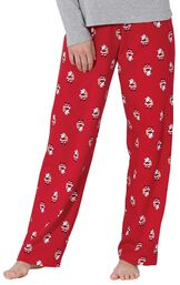 Close-up of full-length red pants with santa print image number 4