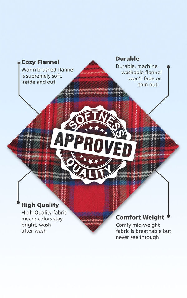Red Stewart Plaid Fabric with the following copy: Warm brushed flannel is supremely soft. Machine washable flannel won't fade or thin. High-quality fabric means colors stay bright. Mid-weight fabric is breathable but never see through. image number 3