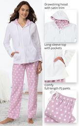 Close-ups of Snuggle Fleece Hoodie Pajamas details which include a drawstring hood with satin trim, long-sleeve top with pockets and comfy full-length PJ pants image number 3