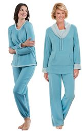 Models wearing World's Softest Jogger Pajamas - Teal and World's Softest Pajamas - Teal.