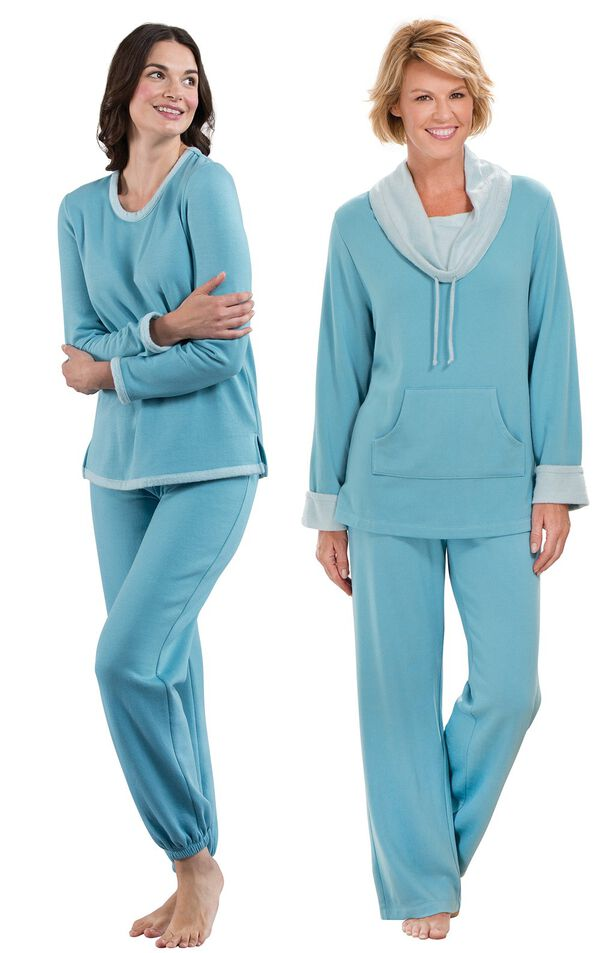Models wearing World's Softest Jogger Pajamas - Teal and World's Softest Pajamas - Teal. image number 0