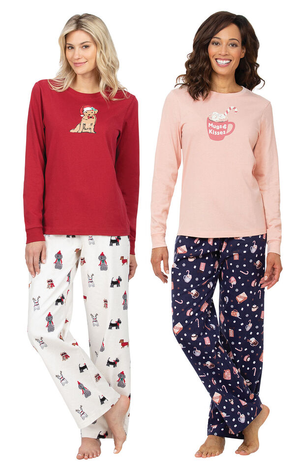 Mugs and Kisses PJs and Red Christmas Dog PJs image number 0