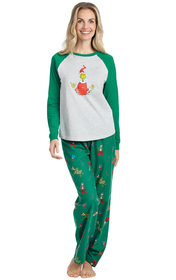 Model wearing Green and Gray Grinch PJ for Women image number 0