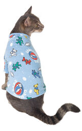 Cat wearing Grateful Dead Cat Pajamas, facing away from the camera image number 1