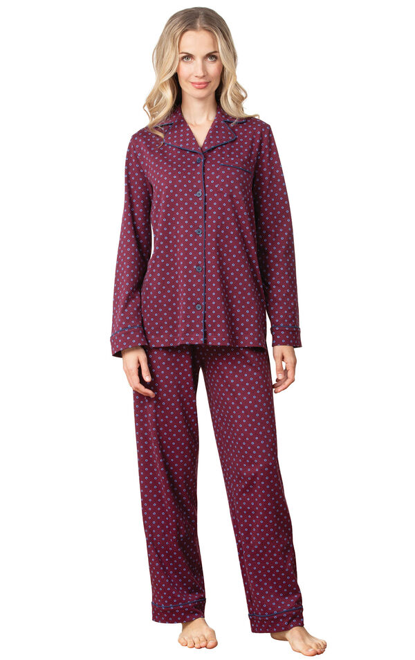 Model wearing Deep Red Print Button-Front PJ for Women image number 0
