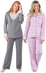 Models wearing World's Softest Pajamas - Charcoal and World's Softest Flannel Boyfriend Pajamas - Pink.