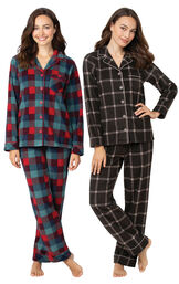 Charcoal Check and Yuletide Plaid Fleece Boyfriend PJs image number 0