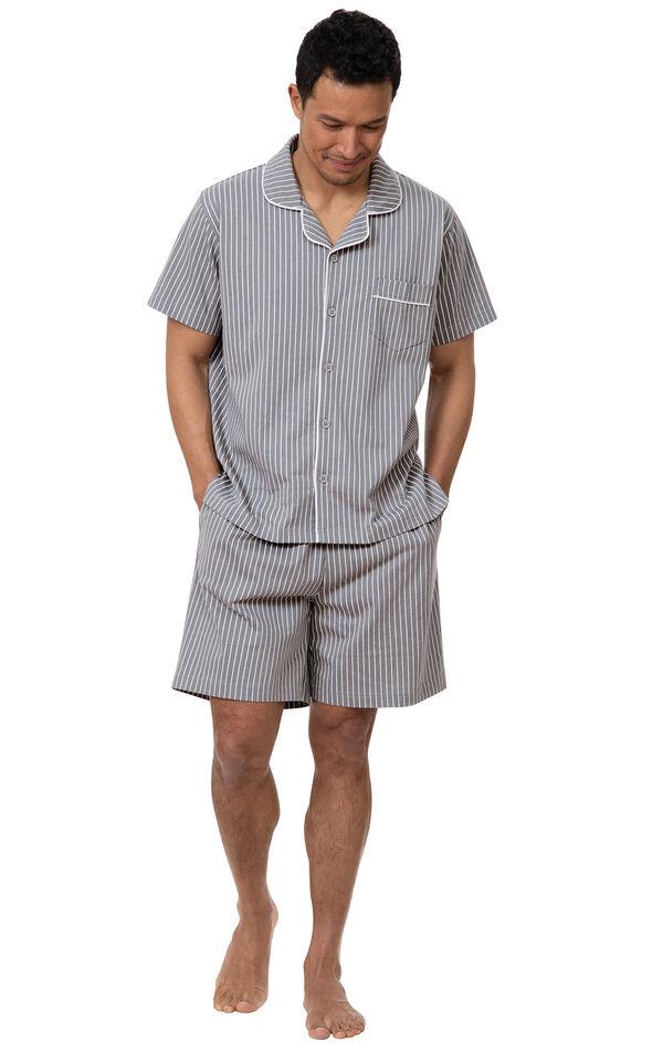 Model wearing Model wearing Gray Stripe Short Sleeve Button-Front Short Set for Men image number 0