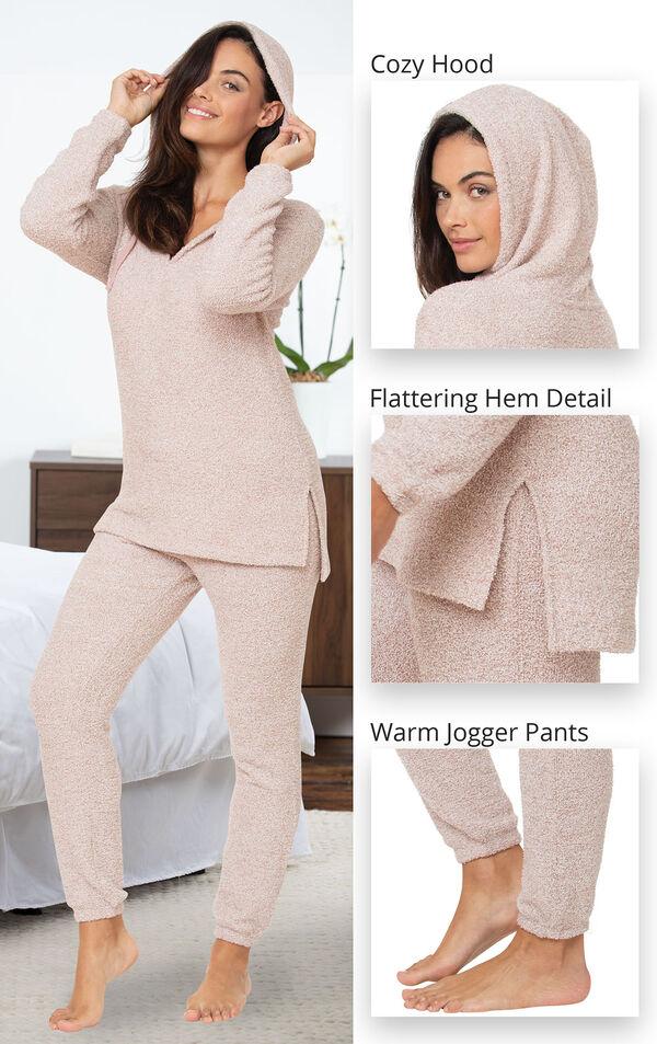 Cozy escape Pajamas feature a cozy hood, flattering hem detail and warm jogger pants image number 4