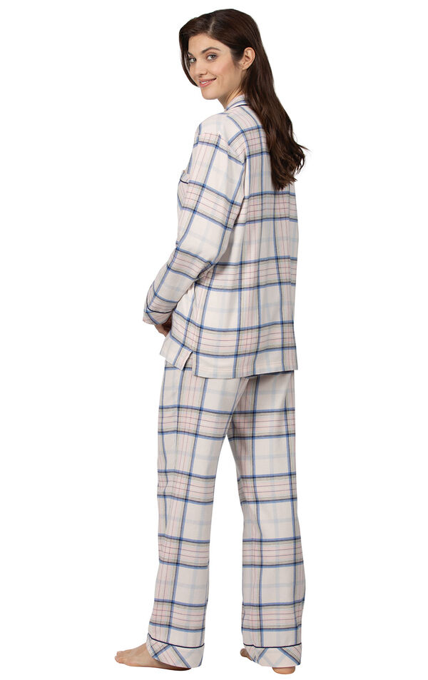 Model wearing Pink Plaid Button-Front PJ for Women, facing away from the camera image number 1