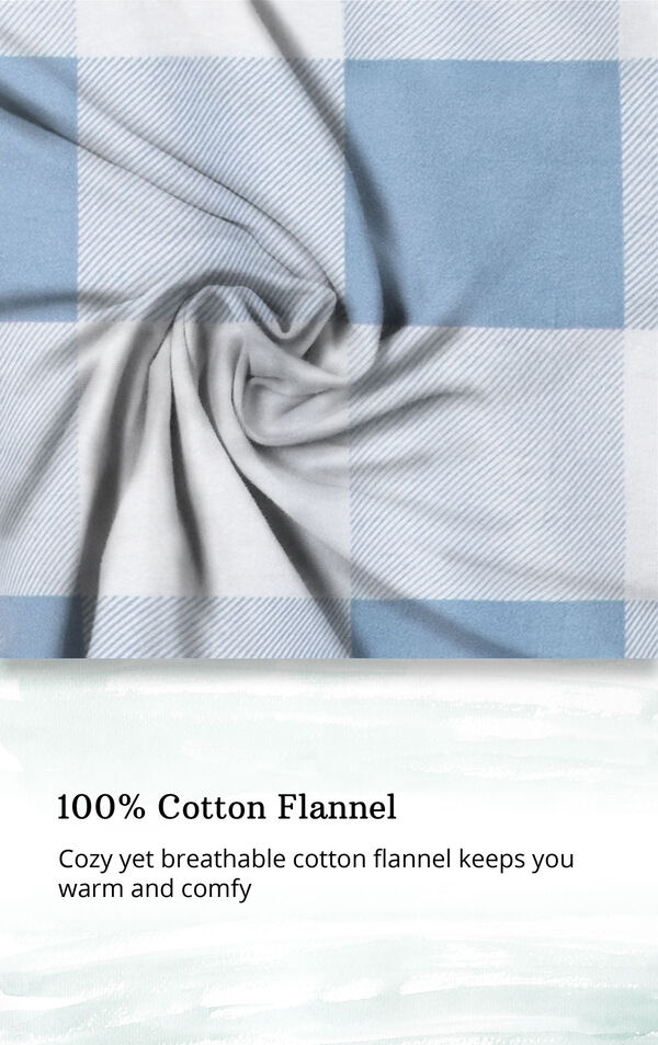 Blue Check Flannel Button-Front PJ for Women image number 4