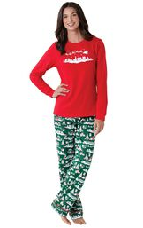 Model wearing Red and Green Night Before Christmas PJ for Women image number 0