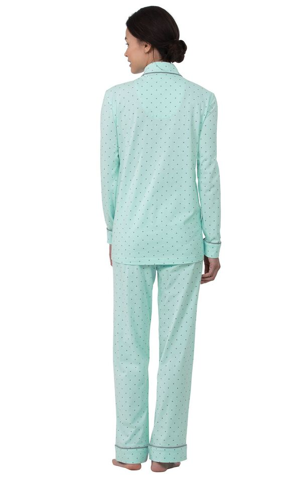 Model wearing Mint and Gray Polka Dot Button-Front PJ for Women, facing away from the camera image number 1