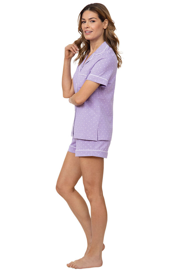 Model wearing Lavender Short Set with White Polka Dots, facing to the side image number 2