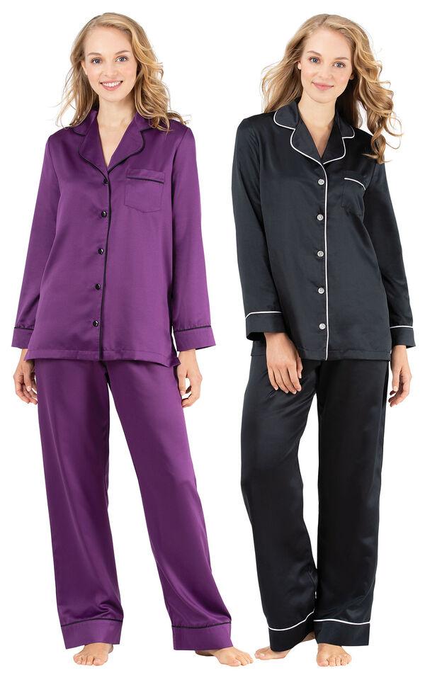 Models wearing Satin Pajamas with Piping - Purple and Satin Pajamas with Piping - Black. image number 0