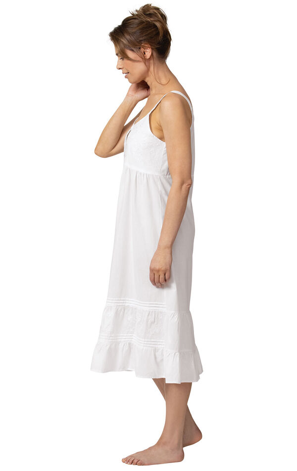 Model wearing Ruby Nightgown in White for Women, facing to the side image number 2