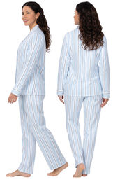 Model wearing Blue Stripe Flannel Button-Front PJ for Women, facing away from the camera and then to the side image number 1