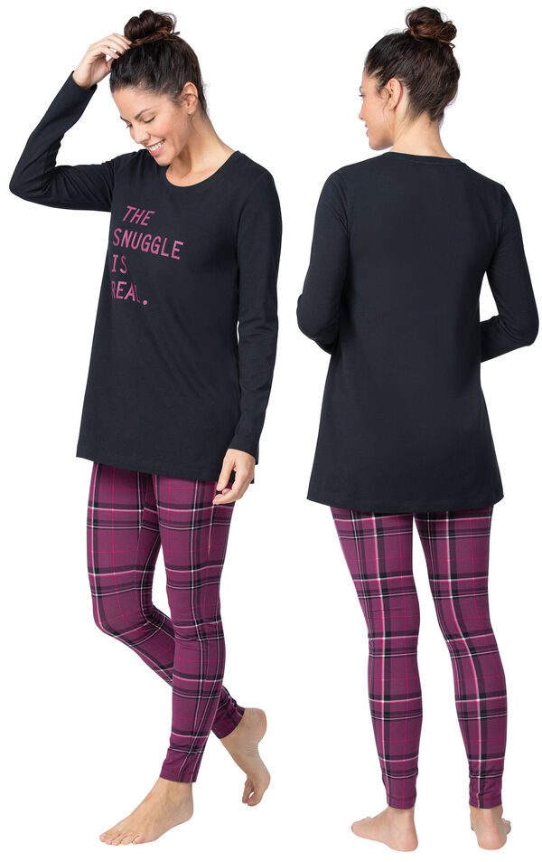 Model wearing Model wearing Long Sleeve and Legging Pajamas - Plum Plaid, facing away from the camera and then facing to the side image number 1