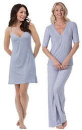 Models wearing Naturally Nude Chemise - Blue and Naturally Nude Pajamas - Blue.